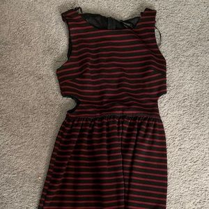 Maroon and black stripes forever 21 dress